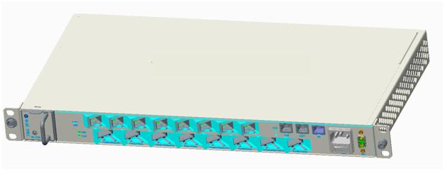伊藤忠ケーブルシステムが扱うNOKIA社のミニOLT。上段がOLT機能、下段がアップリンク。